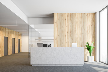 Concrete reception in wooden office