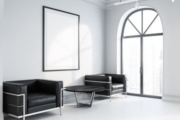 Office waiting room, black armchairs, poster side