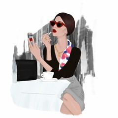 Elegant woman in red sunglasses paints her lips with red lipstick. Fashion illustration.
