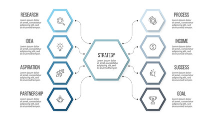 Business infographic. Organization chart with 8 options, hexagons. Vector template.