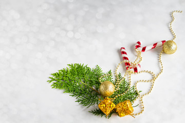 Christmas background decoration with fir tree and gift festive on white background composition with border and copy space design.