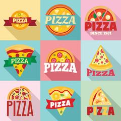 Pizza logo set. Flat set of pizza vector logo for web design