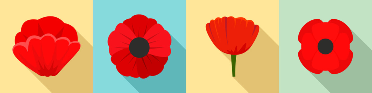 Poppy flowers icon set. Flat set of poppy flowers vector icons for web design
