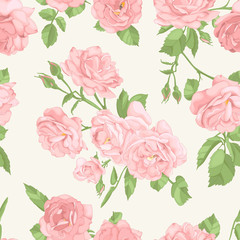 Vintage seamless pattern with blossoming roses flowers. Vector illustration. Pastel colours.