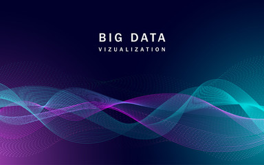 Visualization big data banner. Realistic illustration of visualization big data vector banner for web design Wall mural