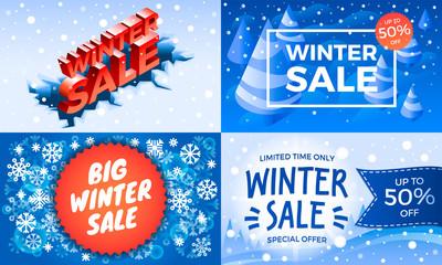 Winter sale banner set. Isometric set of winter sale vector banner for web design