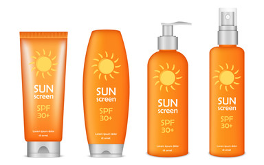 Sunscreen icon set. Realistic set of sunscreen vector icons for web design isolated on white background