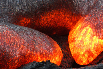 Lava flow with magma heart