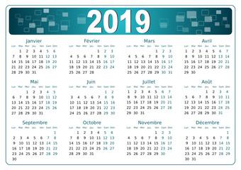 Calendrier 2019 simple - facilement éditable - police non vectorisée