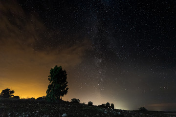 Night landscape near Gabriel and Galan. Extremadura. Spain.