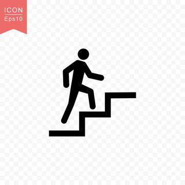 Man climbing stairs icon simple flat style vector illustration.