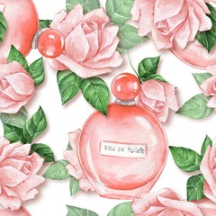 Seamless pattern with bottle of perfume and flowers. Watercolor illustration
