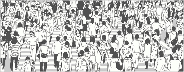 Illustration of large city crowd people tourist walking