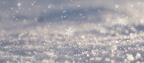 Winter snow background, blue color, snowflakes, Winter snow background, blue color, snowflakes, sunlight, macro.