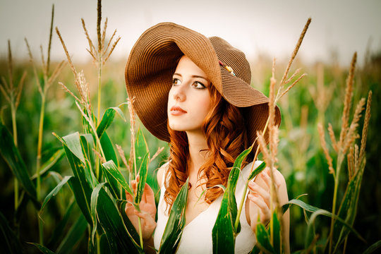 Style redhead girl in hat and white dress is standing in a field of corn cobs at countryside.