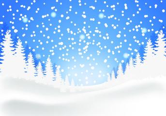 winter landscape, falling snow, pine forest, light blue day background
