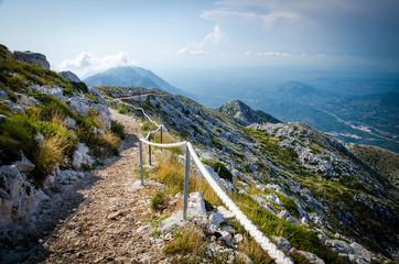 Mountain path on top of peak Sveti Jure, Biokovo, Dalmatia, Croatia Fototapete