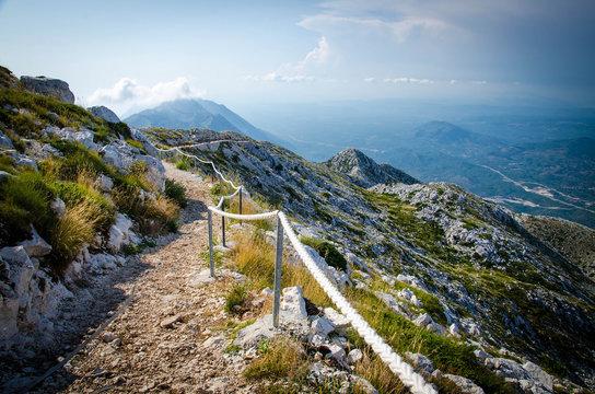Mountain path on top of peak Sveti Jure, Biokovo, Dalmatia, Croatia