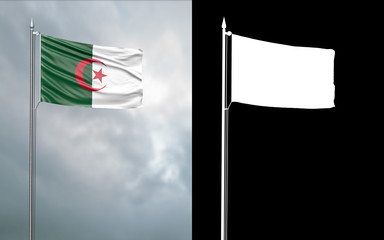 3d illustration of the state flag of the People's Democratic Republic of Algeria moving in the wind at the flagpole in front of a cloudy sky with its alpha channel