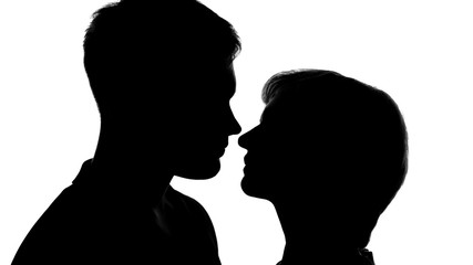 Male and female silhouettes preparing to kiss on romantic date, tender feelings