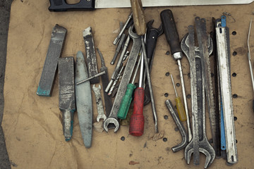 Metal people tools. Rustic iron crafts. Stock Vintage