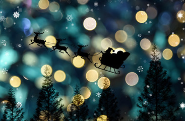Santa clause sleigh flying over pine tree with snow falling, Christmas theme
