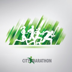 running people silhouettes, stylized vector background, sport and competition concept