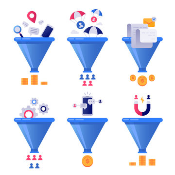 Funnel generation sales. Business lead generations, mail sorter funnels and pipeline sale optimisation vector concept illustration set