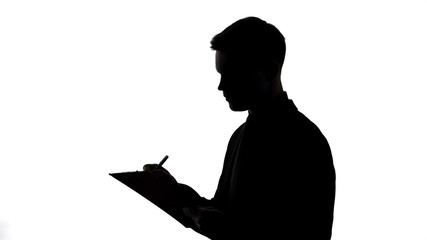 Silhouette of man in suit holding folder, writing survey results, questionnaire