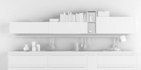 White Kitchen Interior Monochrome Background 3d Rendering 3d Illustration