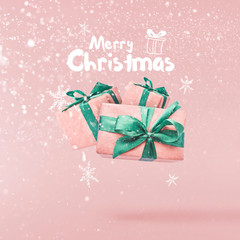 Christmas concept.  Creative Christmas conception made by falling in air silver gift box