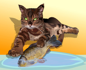 Cat with fish color vector illustration