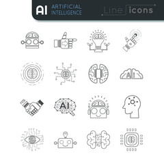 AI artificial intelligence line vector icon set
