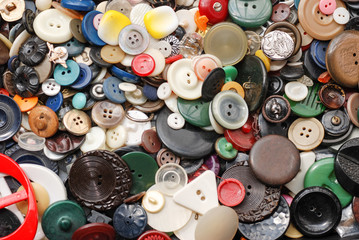 Collection of used, old buttons for handcrafting