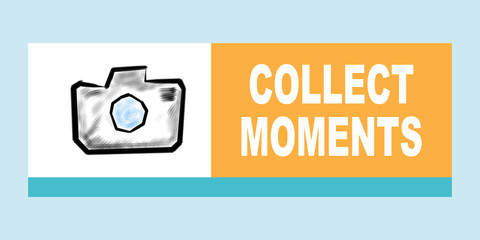 Collect moments concept. Illustration with different colored squares