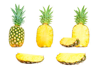 Pineapple composition collection in different variations isolated on white background. Whole, cut in half and a slice of pineapple. Clipping Path