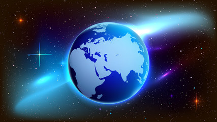 Earth planet on a futuristic art space.