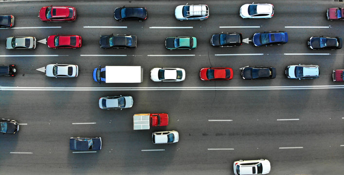 City traffic jam on a highway. Aerial.