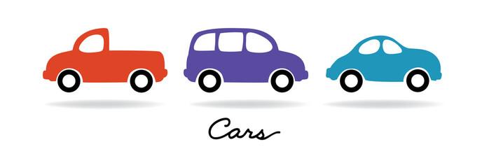 Foto op Canvas Cartoon cars set of vector car pick-up truck and van vehicle illustrations, trip or travel transportation art designs in simple cute minimal design print