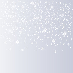 Falling white snow on  silver background. Christmas background. Winter pattern with snowflakes and snowfall. Vector illustration.