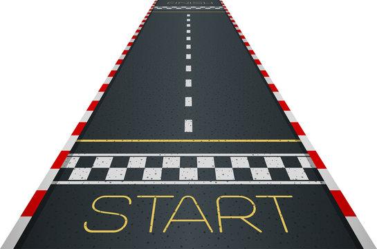 Racing asphalt road. Start and finish concept. Vector illustration