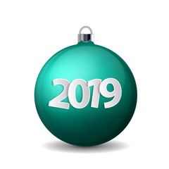 Xmas and New Year 2019 concept. Realistic turquoise christmas ball with silver holder isolated. Vector illustration