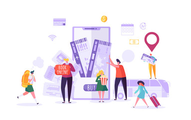 People Booking Plane Tickets Online Using Smartphone. Man and Woman Characters Planning Holiday Travel. Vector illustration