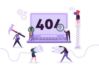 Website Under Construction. 404 Page Maintenance with Characters Workers in Uniform Repairing Network Problem. Web Page Not Found. Vector illustration