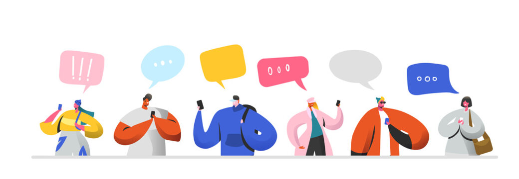 Social Networking Virtual Relationships Concept. Flat People Characters Chatting via Internet Using Smartphone. Group of Man and Woman with Mobile Phones. Vector illustration