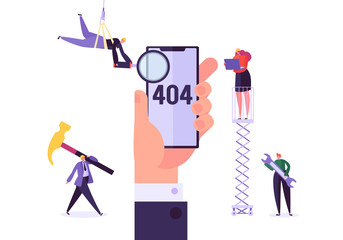 Mobile Website Under Construction. 404 Page Maintenance with Characters Workers in Uniform Repairing Network Problem. Web Page Not Found. Vector illustration