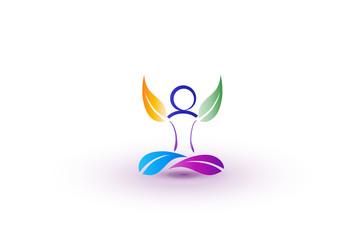 Logo yoga man vector