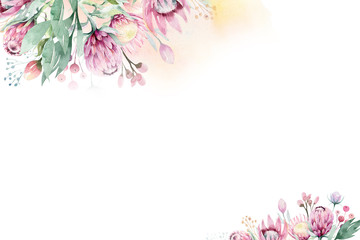 Watercolor Floral decoration spring summer background with blossom protea flower. Wedding decoration frame with floral art.
