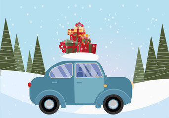 Flat vector cartoon illustration of retro car with present on the roof. Little classic blue car carrying gift boxes on its rack. Vehicle car side view. Snow-covered landscape with firs and snowdrift