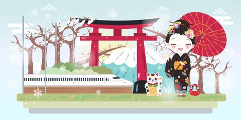 cartoon geisha with winter japan